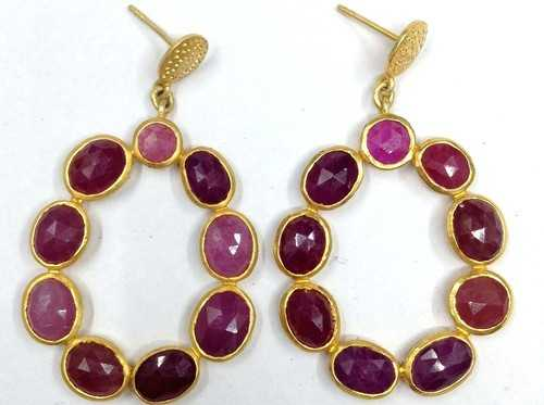 925 Sterling Silver Ruby Earring